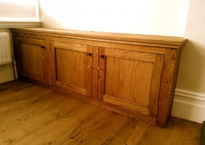 Built in oak TV unit
